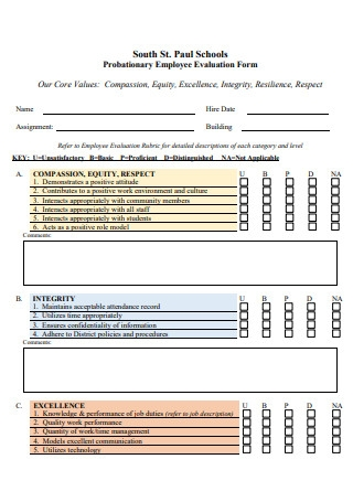 Probationary Employee Evaluation Form