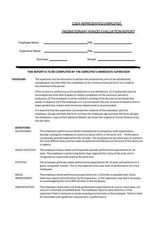 Probationary Period Evaluation Report