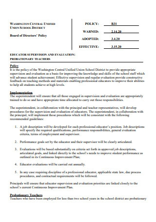 Probationary Teachers Educator Supervision and Evaluation