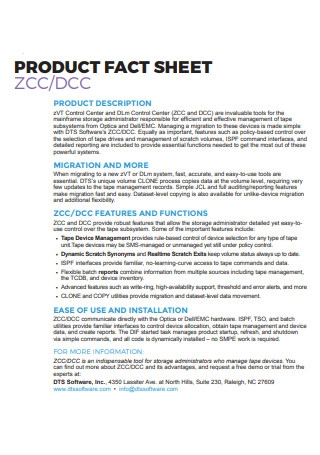 Product Fact Sheet in PDF