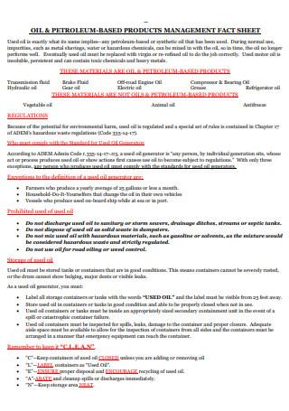 Product Management Fact Sheet