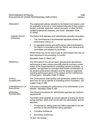 Professional Employees Performance Appraisal Evaluation