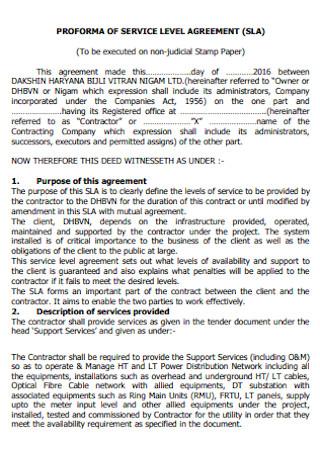 Proforma of Service Level Agreement