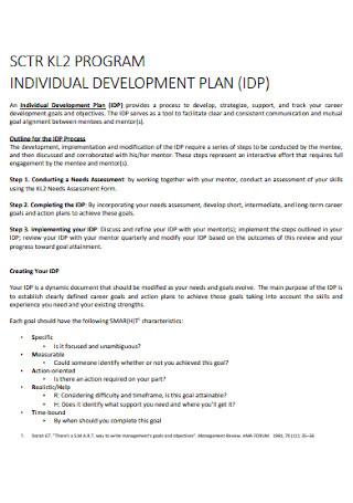 Program Individual Development Plan