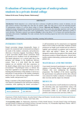 Program Internship Evaluation
