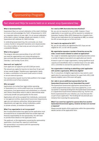 Program Sponsorship Fact Sheet