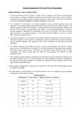 Programmes Thesis Evaluation