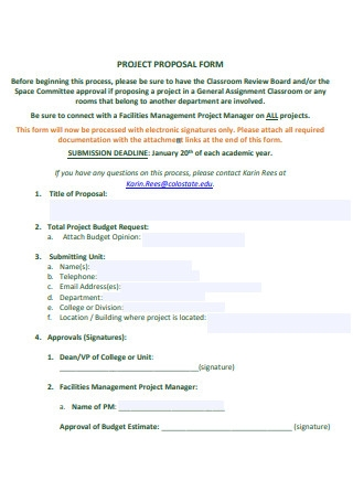 Project Manager Proposal Form