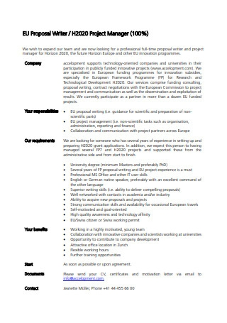 Project Manager Proposal in PDF