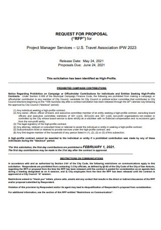 Project Manager Services Proposal