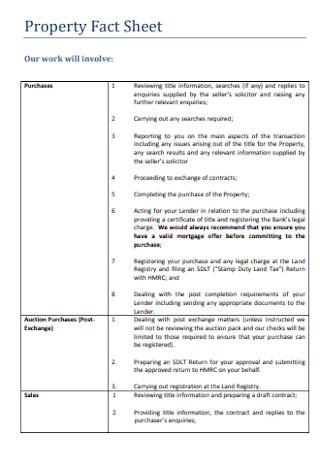 Property Fact Sheet Format