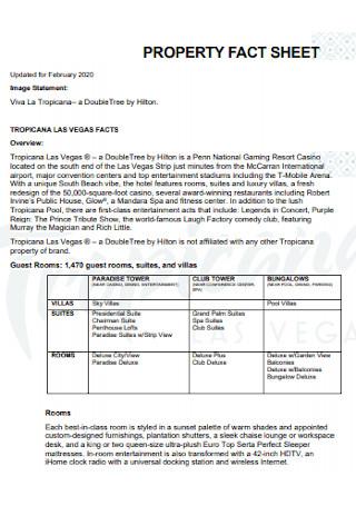 Property Financial Fact Sheet