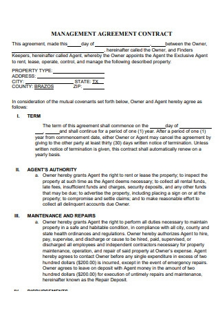 Property Management Agreement Contract