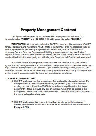 Property Management Contract Example