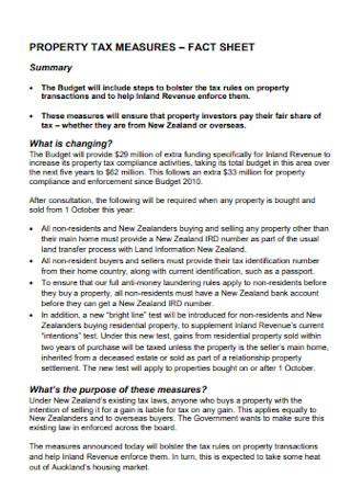 Property Tax Measure Fact Sheet
