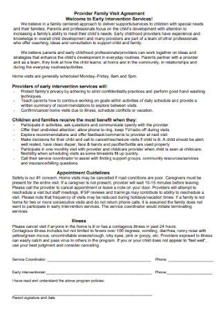 Provider Family Visit Agreement