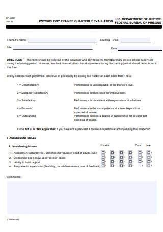 Pyschology Trainee Quarterly Evaluation