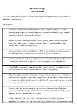 Quality Internships Self Assessment