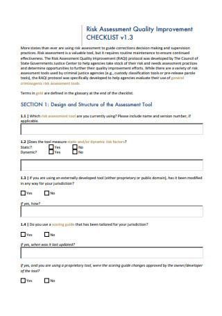 Quality Risk Assessment Improvement Checklist