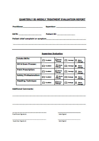 Quarterly Bi Weekly Treatment Evaluation Report