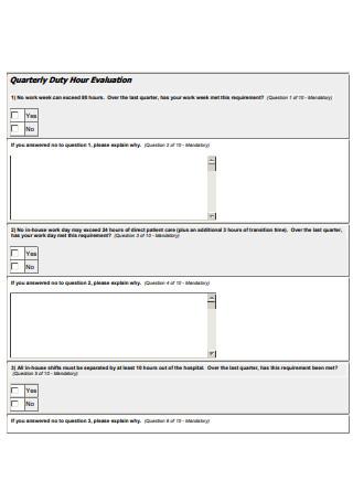 Quarterly Duty Hour Evaluation