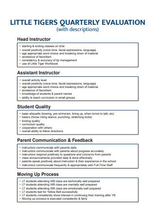 Quarterly Evaluation Format