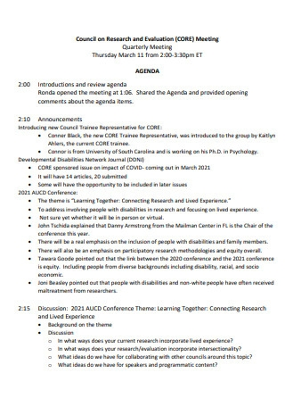 Quarterly Evaluation Meeting