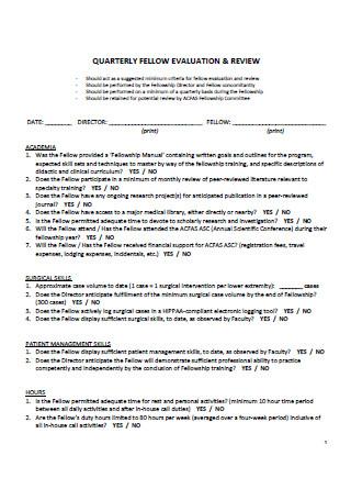 Quarterly Evaluation and Review