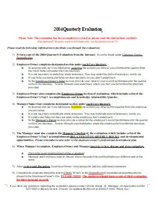 Quarterly Evaluation in DOC
