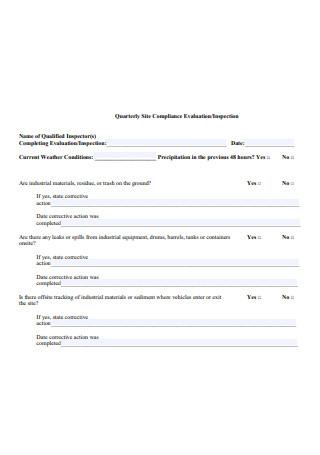 Quarterly Site Compliance Evaluation