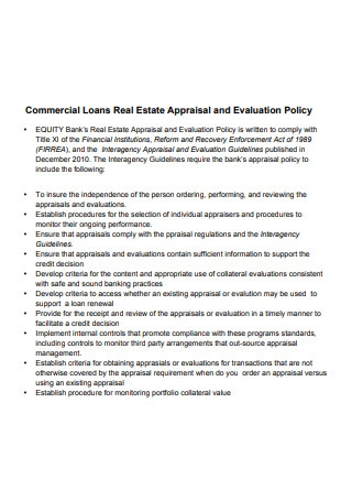 Real Estate Appraisal and Evaluation Policy