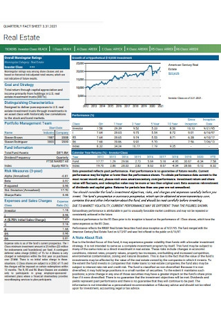 Real Estate Quality Fact Sheet