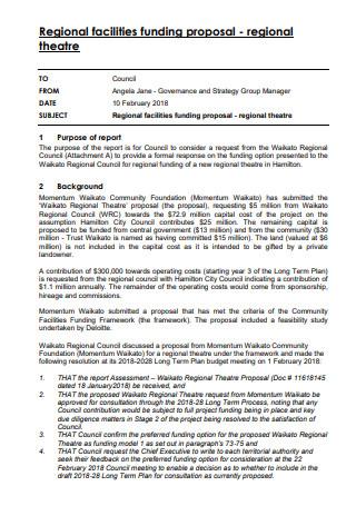 Regional Theatre Funding Proposal