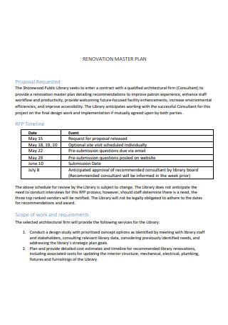 Renovation Master Plan Scope of Work