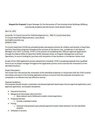Renovation Project Manager Proposal