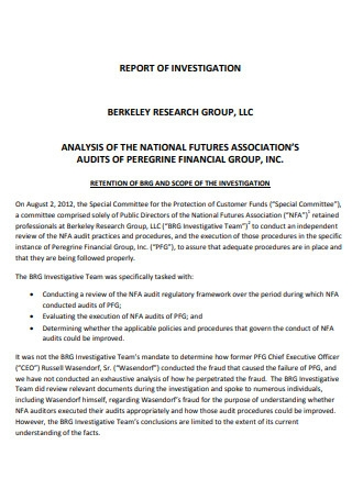 Research Group Investigation Report