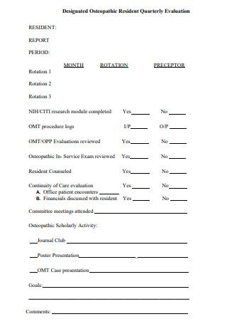 Resident Quarterly Evaluation