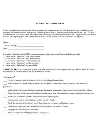 Resident Self Assessment