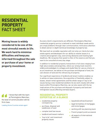 Residential Property Fact Sheet
