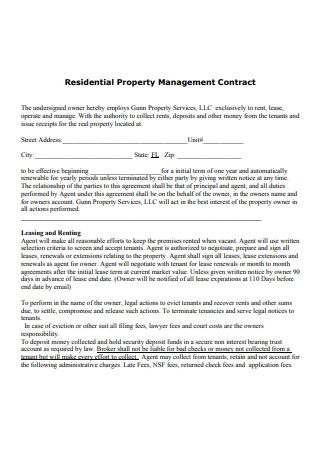 Residential Property Management Contract