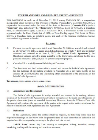 Restated Credit Agreement