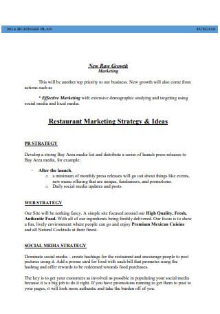 Restaurant Marketing Strategy Business Plan
