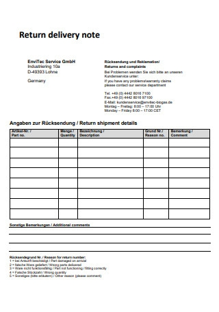Return Delivery Note in PDF