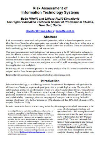 Risk Assessment of IT System