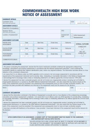 Risk Work Notice of Assessment