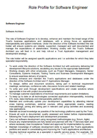 Role Profile for Software Engineer