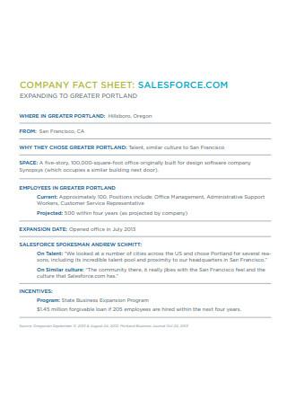 Sales Company Fact Sheet