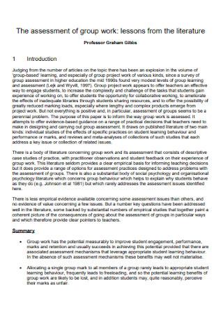 Sample Assessment of Group Work