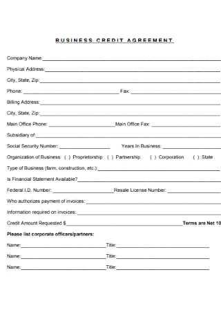 Sample Business Credit Agreement