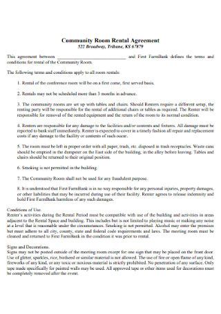 Sample Community Room Rental Agreement